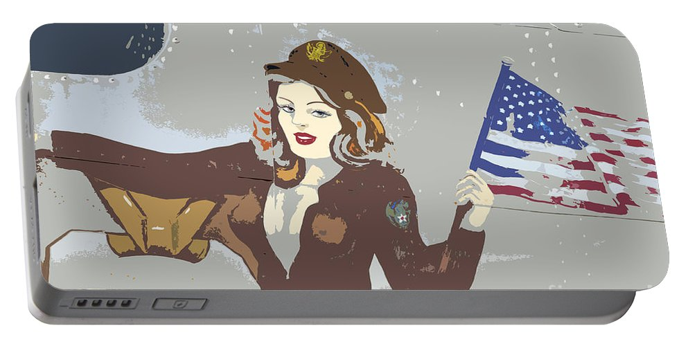 Flag Portable Battery Charger featuring the painting Beauty And The Flag by David Lee Thompson