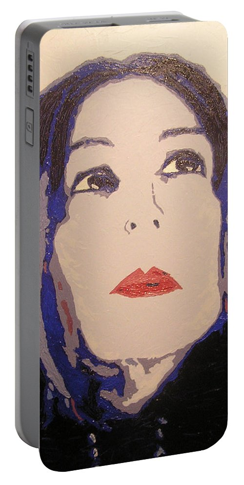 Portrait Portable Battery Charger featuring the painting Beauty Beyond the Blue by Ricklene Wren