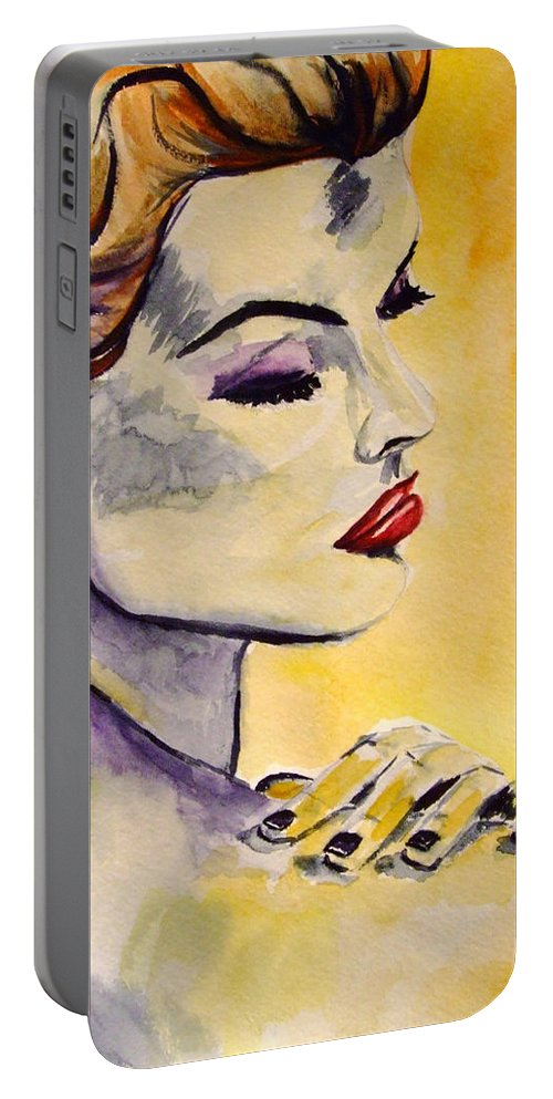 Watercolor Portable Battery Charger featuring the painting Beauty by Donna Blackhall