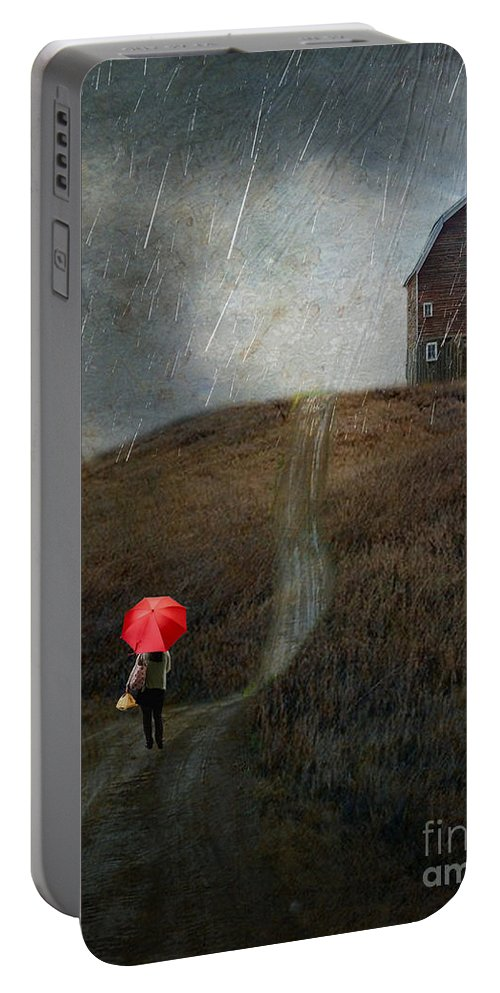 Rain Portable Battery Charger featuring the photograph Beauty In The Silver Rain by AJ Yoder