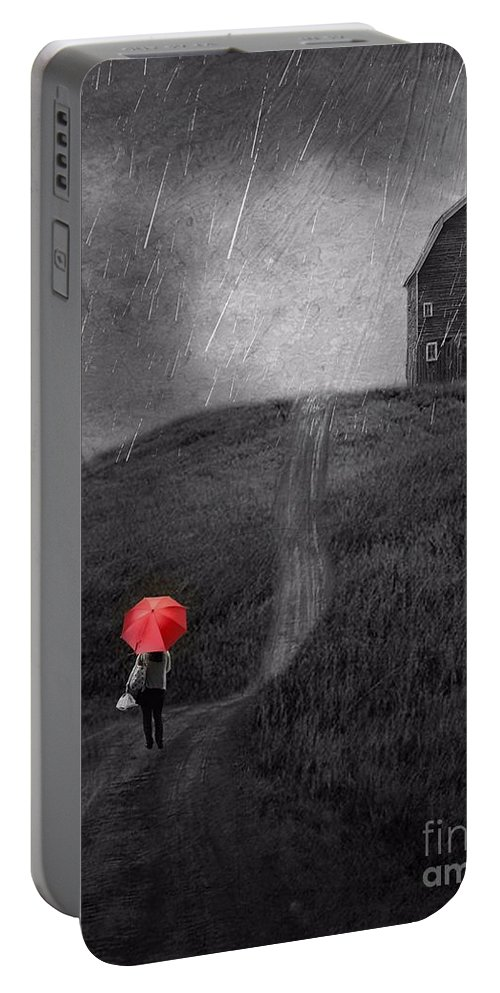 Black And White Portable Battery Charger featuring the photograph Beauty In The Silver Rain Bw by AJ Yoder