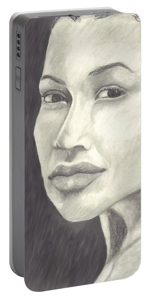 Woman Portable Battery Charger featuring the drawing Beauty by Jean Haynes