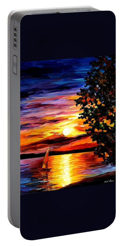 Afremov Portable Battery Charger featuring the painting Beauty Of Night by Leonid Afremov
