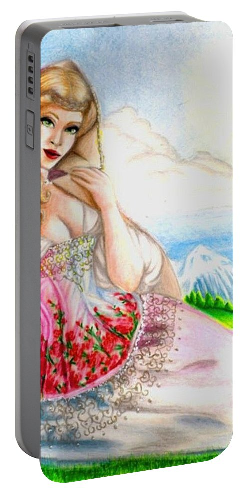 Figure Portable Battery Charger featuring the drawing Beauty of the View by Scarlett Royal