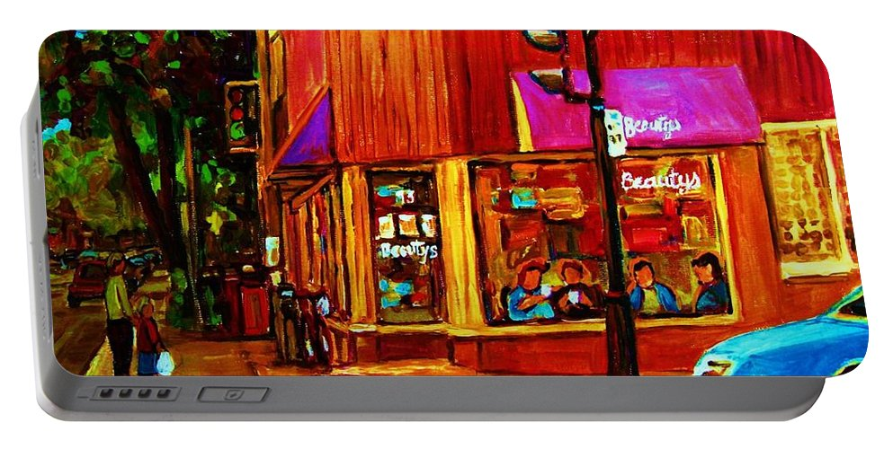 Beautys Restaurant Montreal Portable Battery Charger featuring the painting Beautys Luncheonette by Carole Spandau
