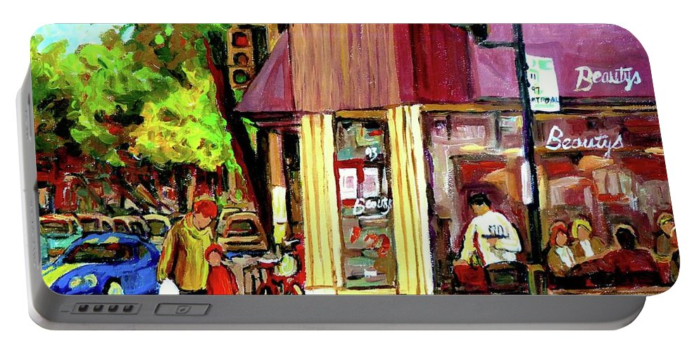 Beautys Luncheonette Montreal Diner Portable Battery Charger featuring the painting Beautys Luncheonette Montreal Diner by Carole Spandau