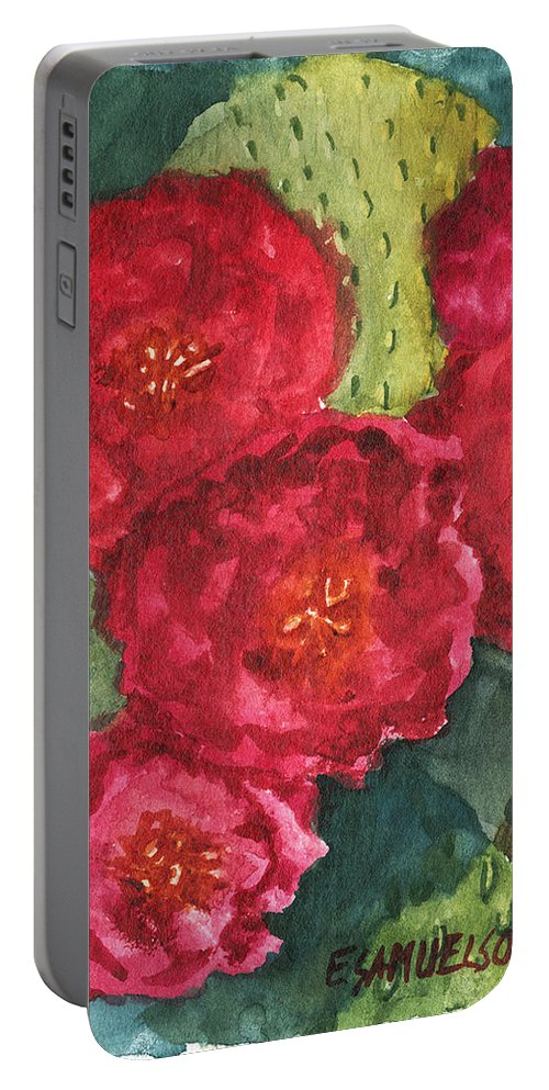 Beavertail Portable Battery Charger featuring the painting Beavertail Cactus by Eric Samuelson