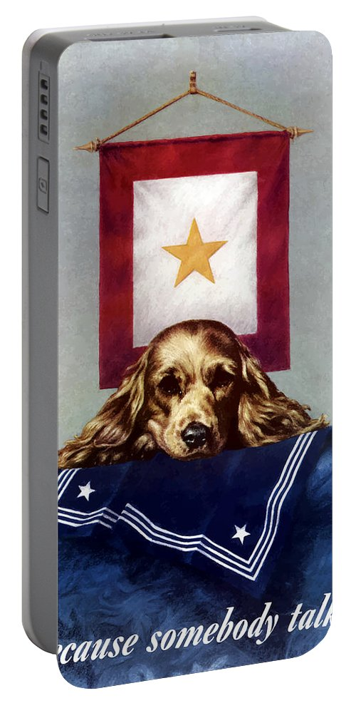 Gold Star Banner Portable Battery Charger featuring the painting Because Somebody Talked - Ww2 by War Is Hell Store