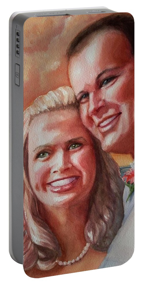 Couple Portable Battery Charger featuring the painting Becky And Chris by Marilyn Jacobson