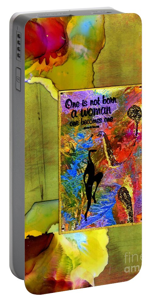 Wood Portable Battery Charger featuring the mixed media Becoming A Woman by Angela L Walker