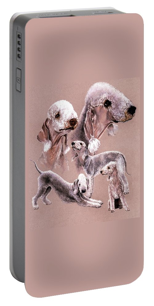 Dog Portable Battery Charger featuring the drawing Bedlington Terrier by Barbara Keith