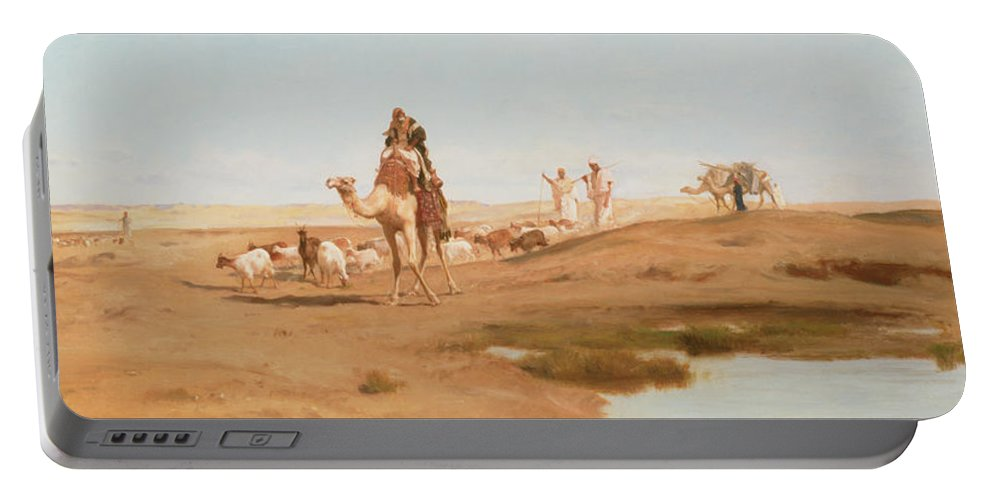 Landscape; Arab; Camel; Goatherd; Goats; Herd; Nomad; Nomadic; Oasis; North African; Berber Portable Battery Charger featuring the painting Bedouin In The Desert by Frederick Goodall