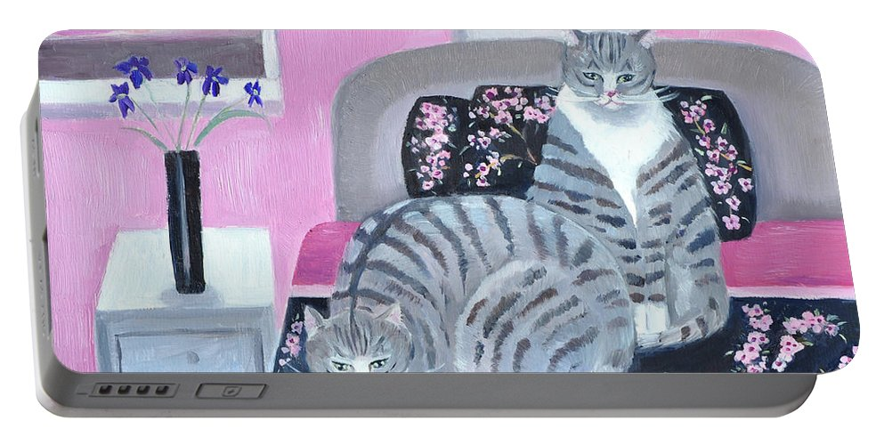 Cats Portable Battery Charger featuring the painting Bedtime by Mary Stubberfield