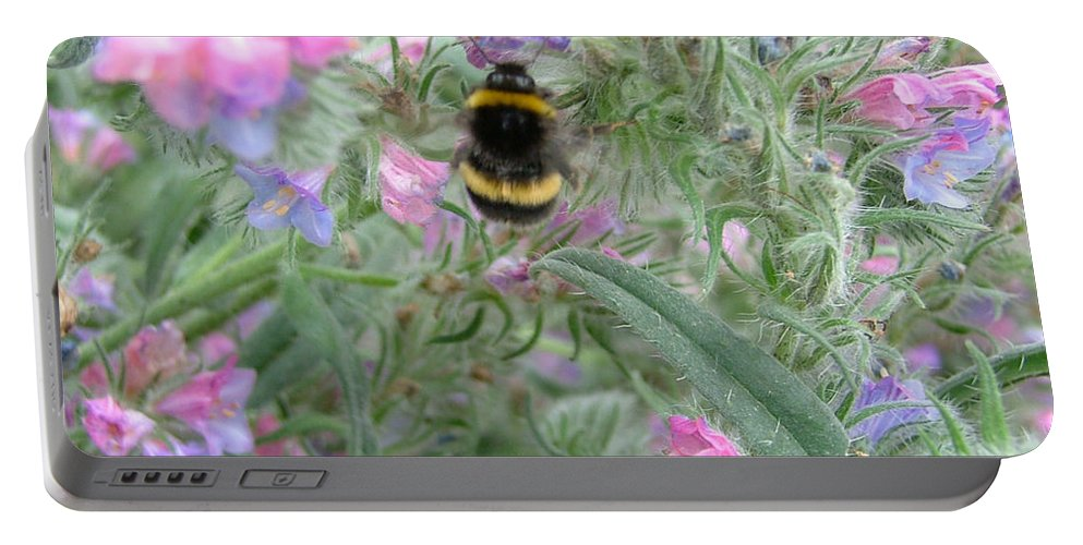 Bee And Flower Portable Battery Charger featuring the photograph Bee And Flower by Heather Lennox
