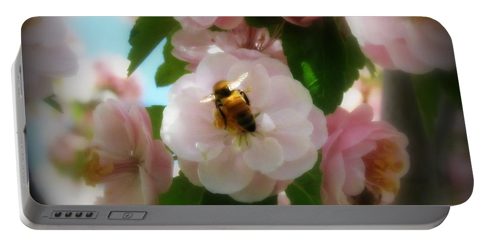 Portable Battery Charger featuring the photograph Bee Blossoms by Krista Carofano