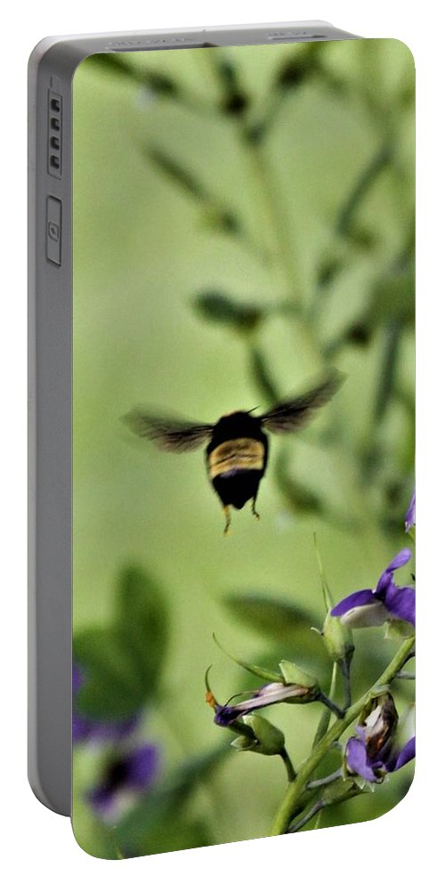 Portable Battery Charger featuring the photograph BEE by Mike Closser