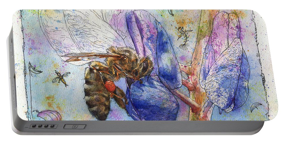 Lupin Portable Battery Charger featuring the painting Bee On Blue Lupin Blossom. by Petra Rau