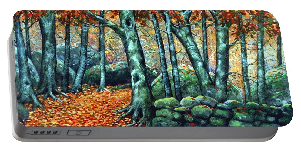 Landscape Portable Battery Charger featuring the painting Beech Woods by Frank Wilson