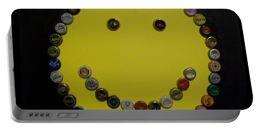 Yellow Portable Battery Charger featuring the painting Beer Happy by Laurette Escobar