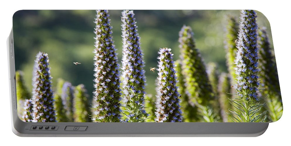 Flowers Portable Battery Charger featuring the photograph Bees At Work by Kelley King