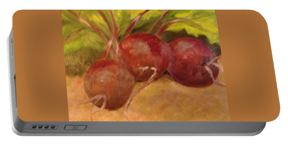 Vegtables Portable Battery Charger featuring the painting Beet It by Pat Snook