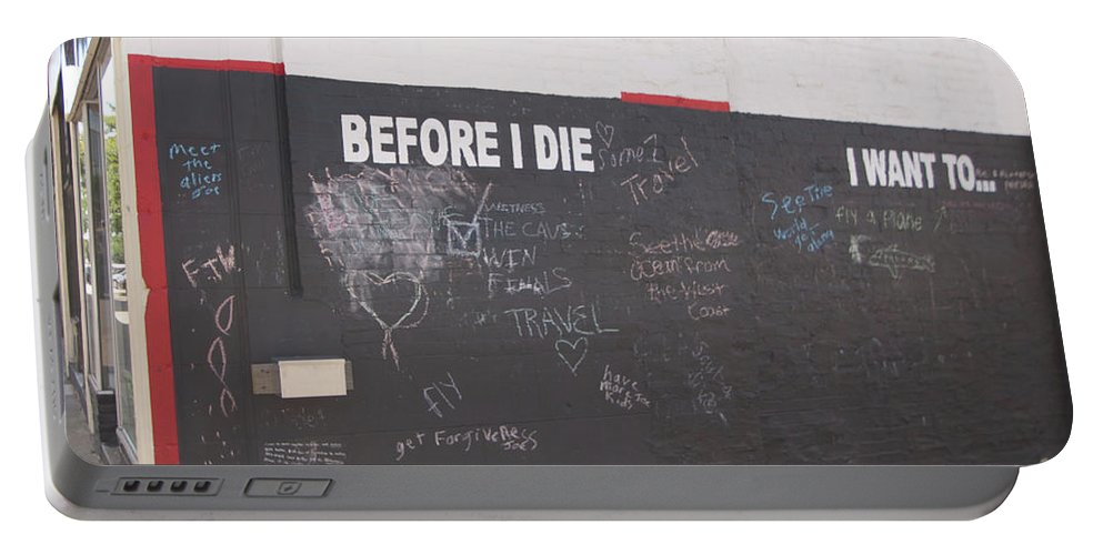Before I Die Portable Battery Charger featuring the photograph Before I Die by Diane Schuler