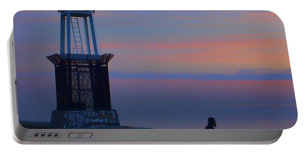 Chicago Portable Battery Charger featuring the photograph Before The Dawn - Hook Pier Lighthouse - Chicago by Nikolyn McDonald