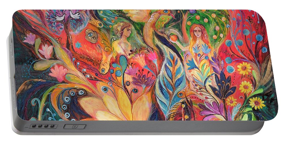 Original Portable Battery Charger featuring the painting Before The First Sin by Elena Kotliarker