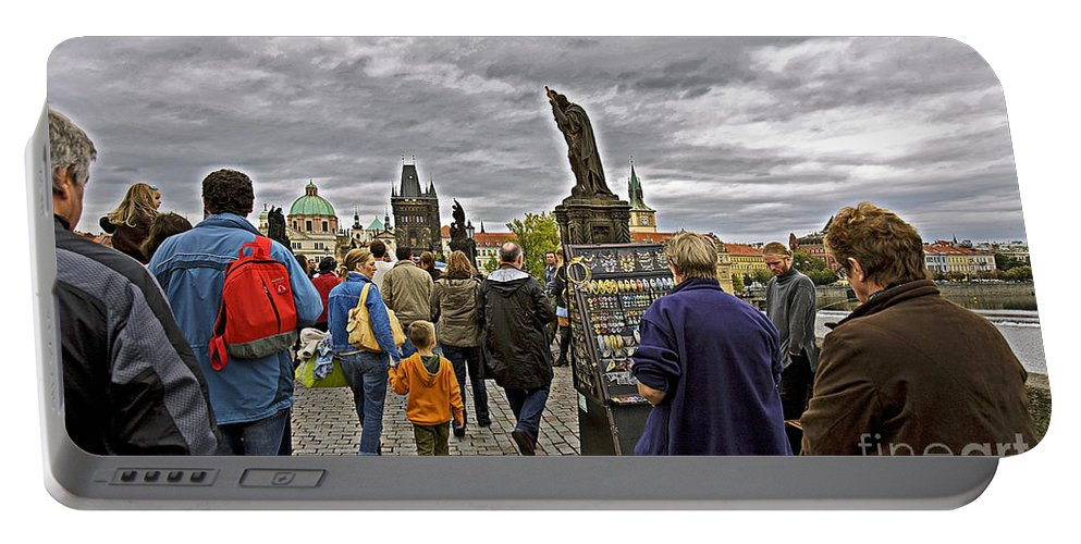 Prague Portable Battery Charger featuring the photograph Before The Rain On The Charles Bridge by Madeline Ellis