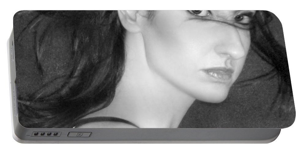 Alluring Portable Battery Charger featuring the photograph Behind Her Eyes Secrets Sleep... by Jaeda DeWalt