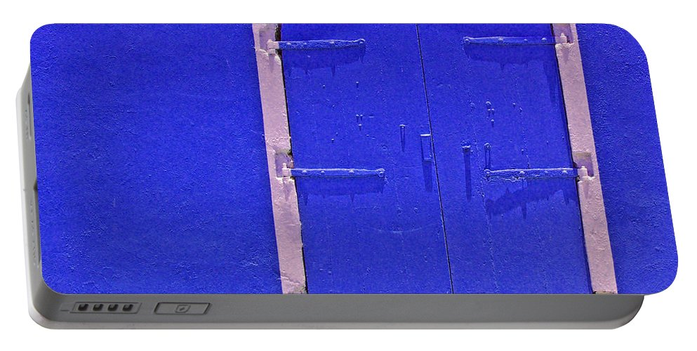 Door Portable Battery Charger featuring the photograph Behind The Blue Door by Debbi Granruth