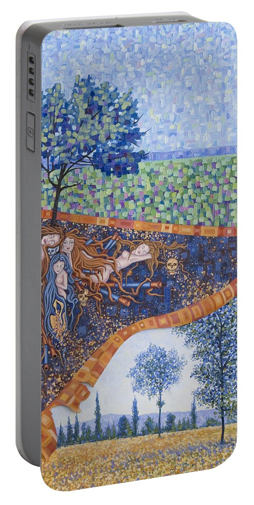 Canvas Portable Battery Charger featuring the painting Behind The Canvas by Judy Henninger