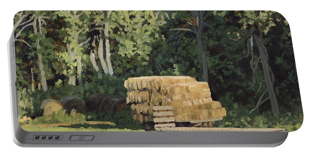Landscape Portable Battery Charger featuring the painting Behind The Grove by Bruce Morrison