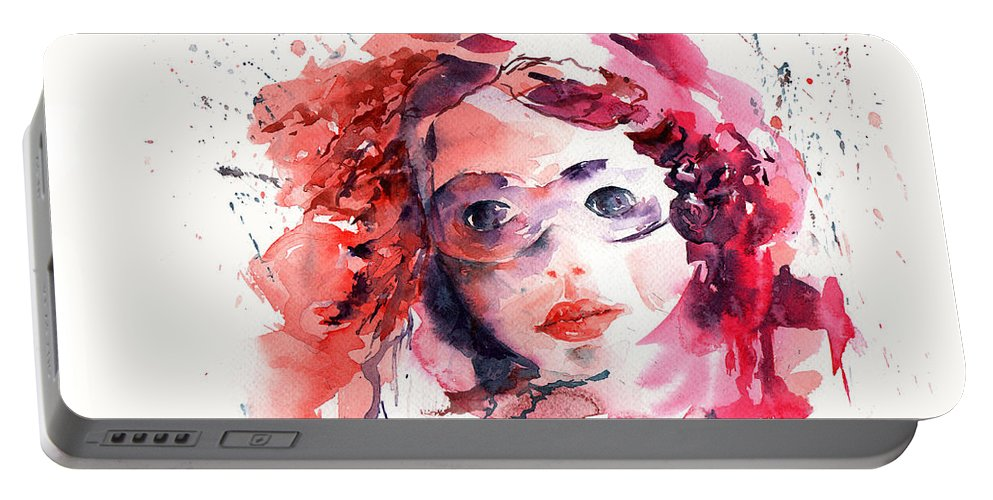 Stephie Butler Portable Battery Charger featuring the painting Behind The Mask by Stephie Butler