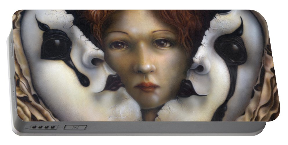 Portable Battery Charger featuring the painting Behind The Mask by Wayne Pruse