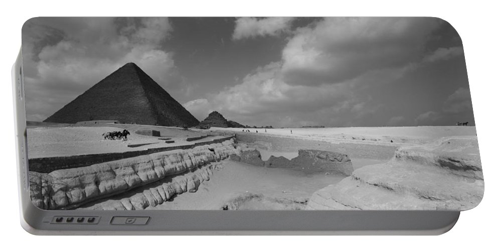 Pyramid Portable Battery Charger featuring the photograph Behind The Sphynx by Donna Corless