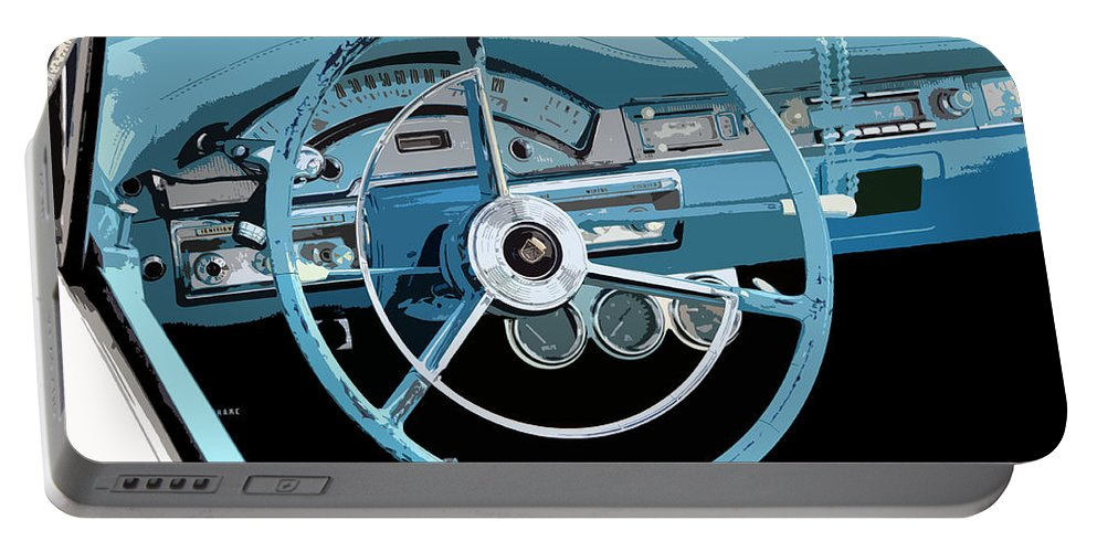 Driving Wheel Portable Battery Charger featuring the painting Behind The Wheel by David Lee Thompson