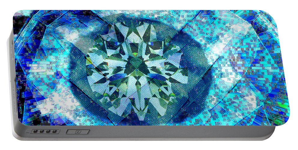 Abstract Portable Battery Charger featuring the digital art Behold The Jeweled Eye by Seth Weaver