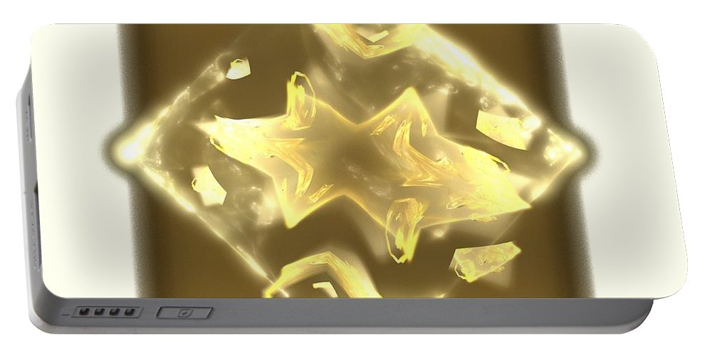 Apophysis Portable Battery Charger featuring the digital art Beige Moons by Kim Sy Ok