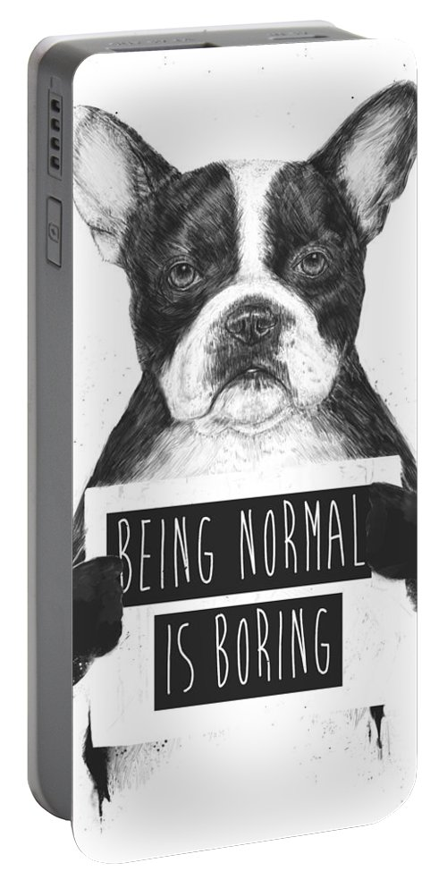 Bulldog Portable Battery Charger featuring the drawing Being normal is boring by Balazs Solti