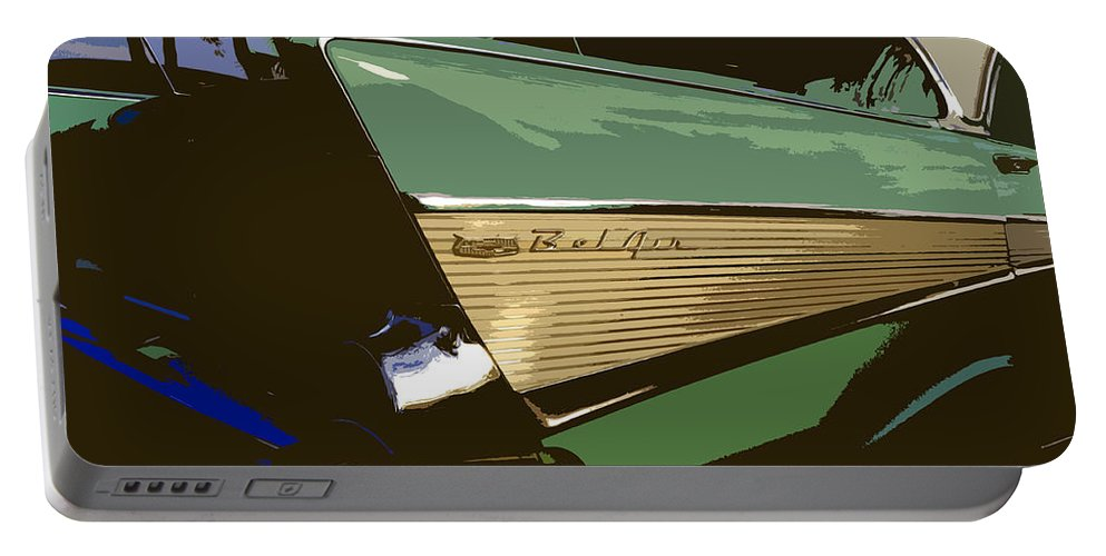 Chevy Portable Battery Charger featuring the painting Belair by David Lee Thompson