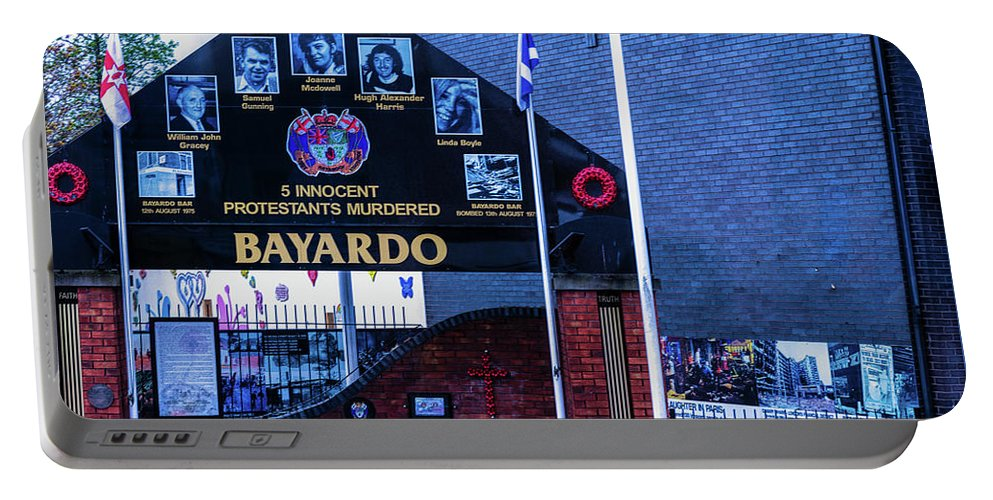 Belfast Portable Battery Charger featuring the photograph Belfast Mural - Bayardo - Ireland by Jon Berghoff