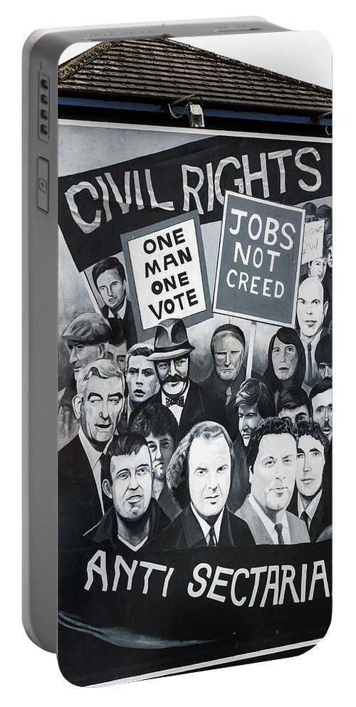Belfast Portable Battery Charger featuring the photograph Belfast Mural - Civil Rights - Ireland by Jon Berghoff