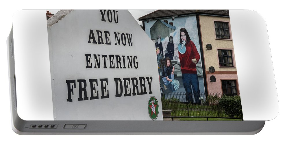 Belfast Portable Battery Charger featuring the photograph Belfast Mural - Free Derry - Ireland by Jon Berghoff