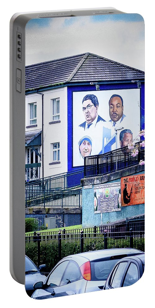 Belfast Portable Battery Charger featuring the photograph Belfast Mural - Humanitarians - Ireland by Jon Berghoff