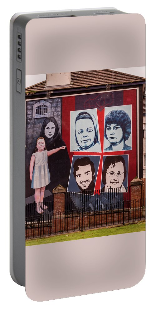 Belfast Portable Battery Charger featuring the photograph Belfast Mural - Ireland by Jon Berghoff