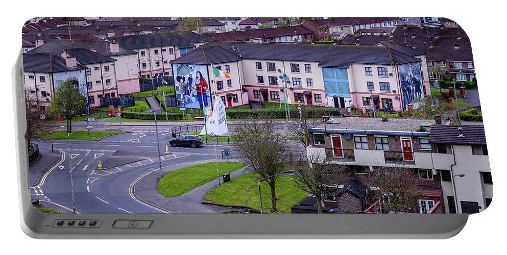 Belfast Portable Battery Charger featuring the photograph Belfast Mural - Derry Neighborhood - Ireland by Jon Berghoff