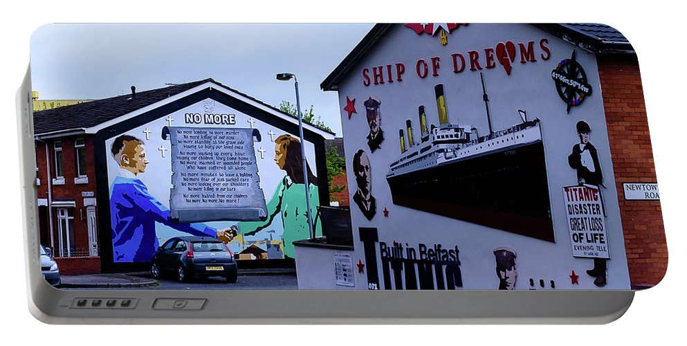 Belfast Portable Battery Charger featuring the photograph Belfast Mural - No More by Jon Berghoff