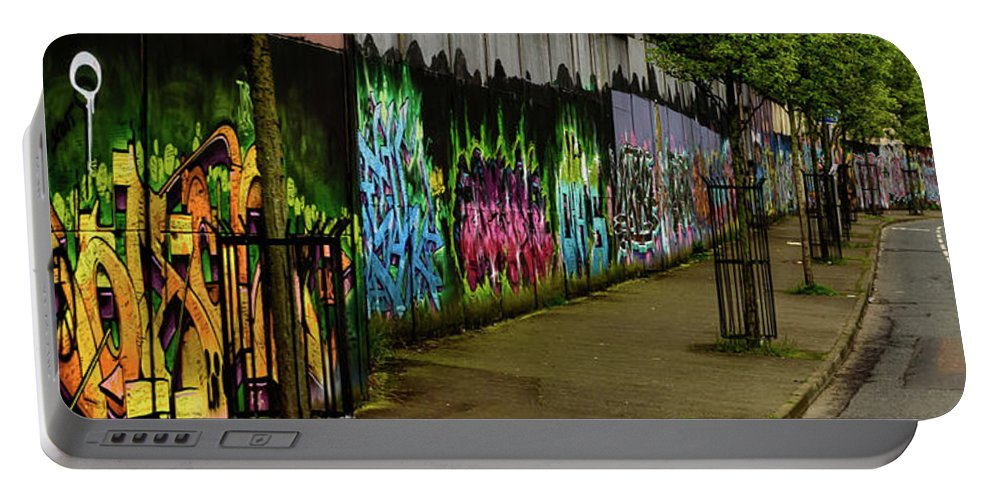 Belfast Portable Battery Charger featuring the photograph Belfast - Painted Wall - Ireland by Jon Berghoff