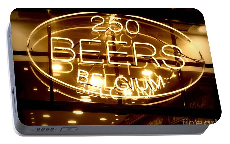 Home Bar Portable Battery Charger featuring the photograph Belgian Beer Sign by Carol Groenen